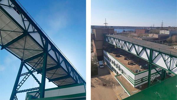 Нанесение Антикоррозийной защиты и установка вентилируемого фасада на галерее промышленного объекта