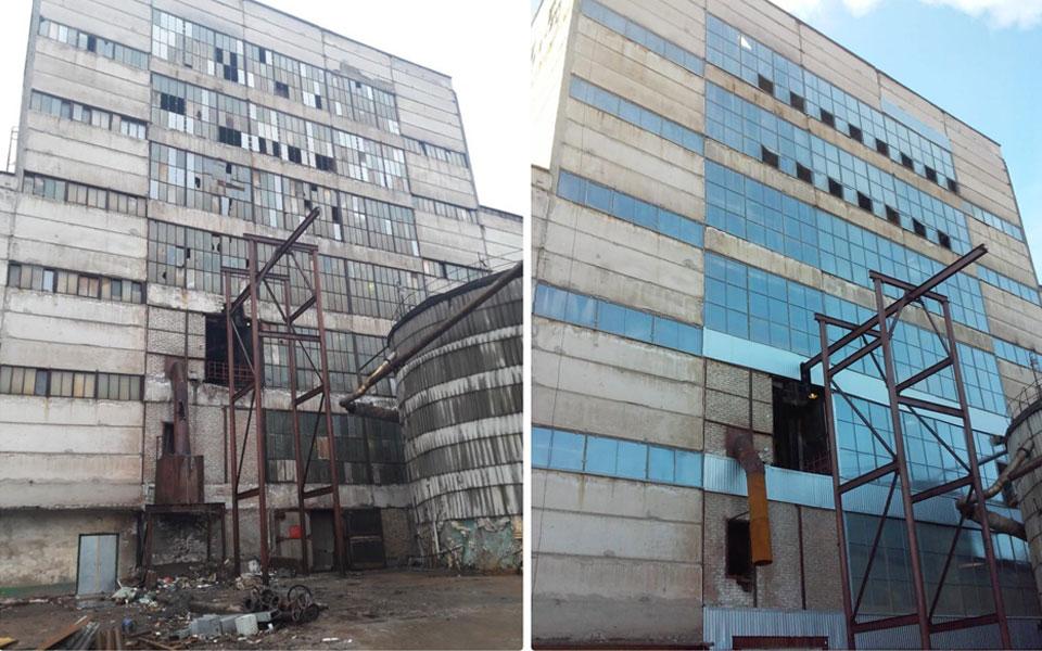 Установка светопрозрачных конструкций на здании промышленного назначения.